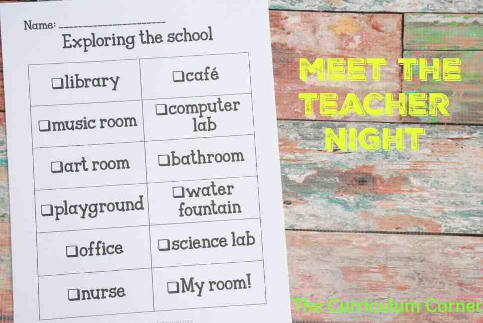 School Scavenger Hunt for Meet the Teacher Night FREEBIE | The Curriculum Corner