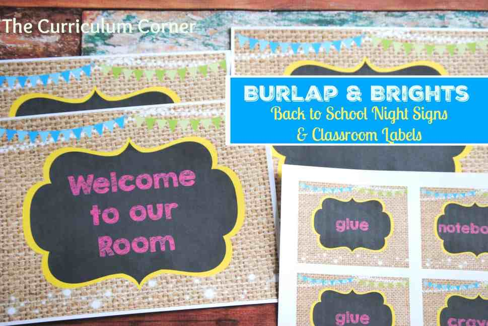 Burlap & Brights Classroom Signs and Labels for Meet the Teacher Night | FREE | The Curriculum Corner