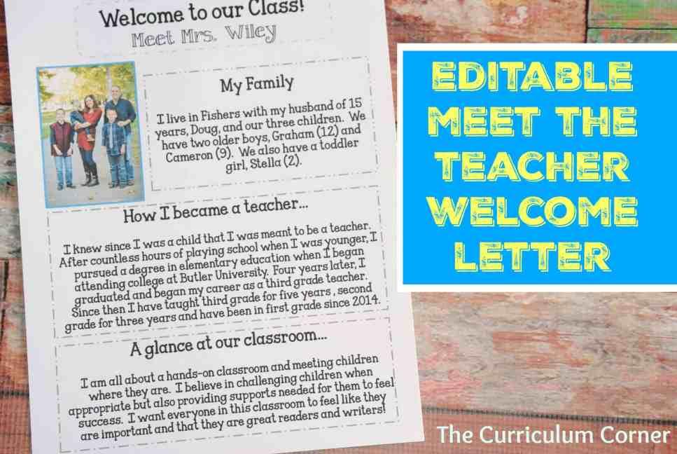 Editable Meet the Teacher Night Welcome Letter FREE The Curriculum Corner