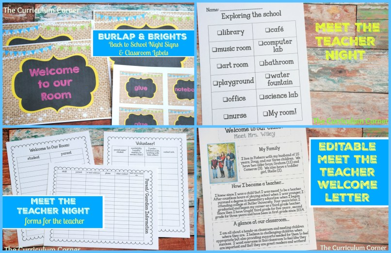 Meet the Teacher Night Burlap & Brights signs (editable), forms for teachers, newsletter & more! FREE from The Curriculum Corner
