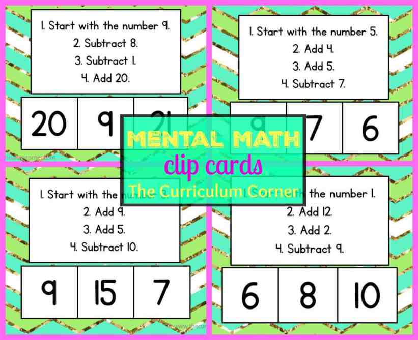FREEBIE!!!! Mental Math Clip Cards for Mental Math Collection FREE from The Curriculum Corner