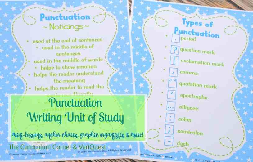 FREEBIE Punctuation Writing Unit of Study from The Curriculum Corner & VariQuest