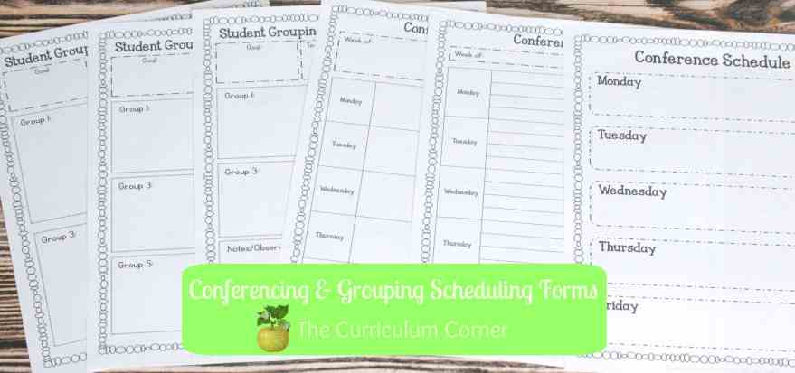 Conferene and Small Group Planning Forms part of Reading Management Binder FREE from The Curriculum Corner