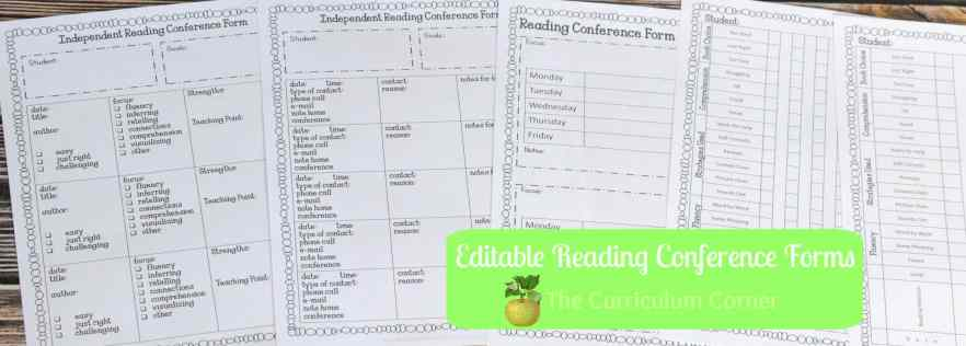 Assorted Reading Conference Forms part of Editable Reading Management Binder FREE from The Curriculum Corner