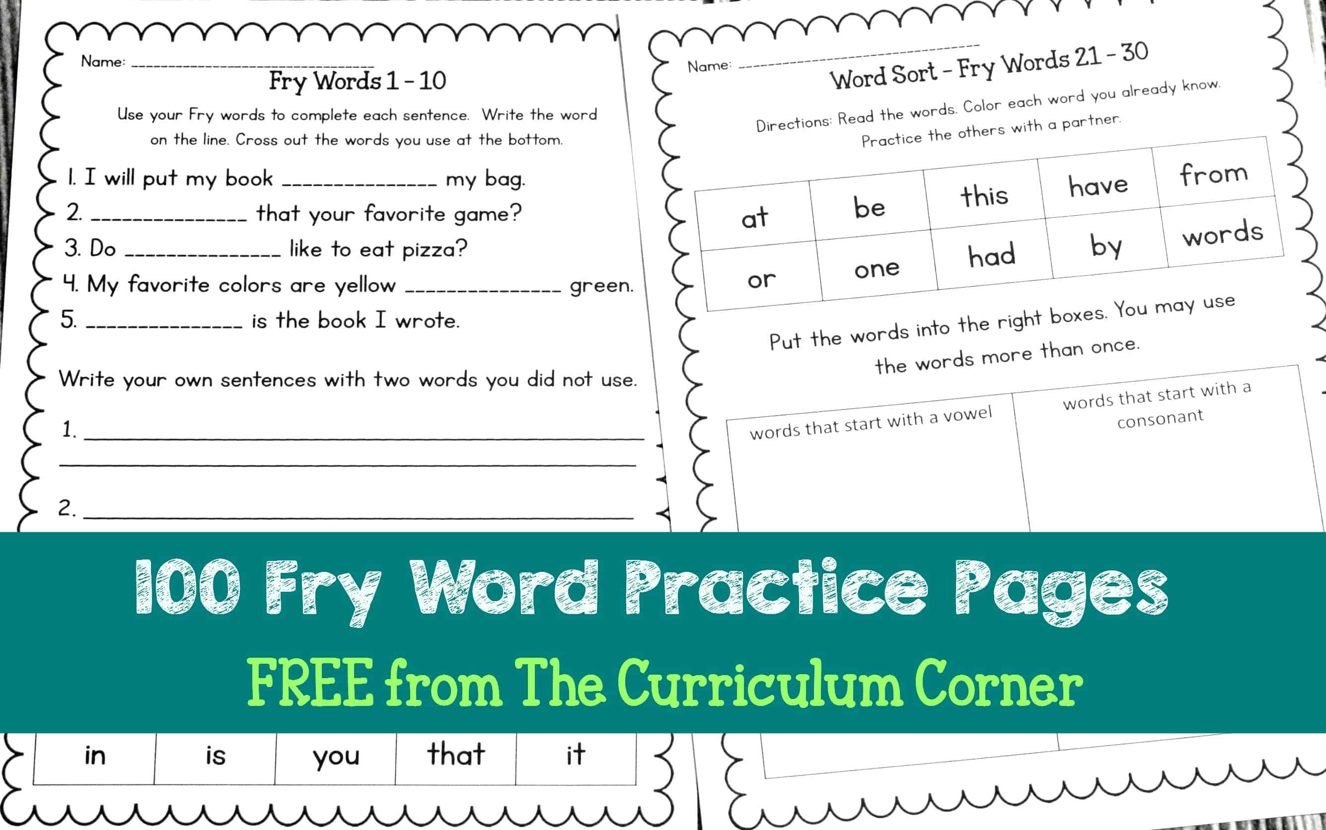 Fry Word Practice Pages
