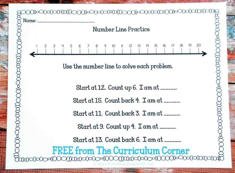 FREEBIE! Numbers, Counting & Ordering Math Unit of Study for 1st & 2nd Grades FREE from The Curriculum Corner Number Line Practice Activities, Counting Up and Counting Down