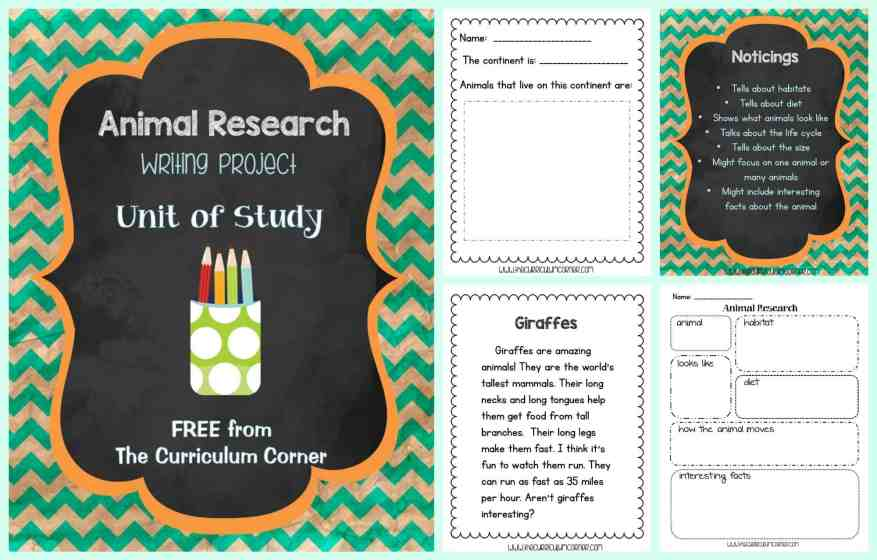 FREE Animal Research Writing Unit of Study from The Curriculum Corner