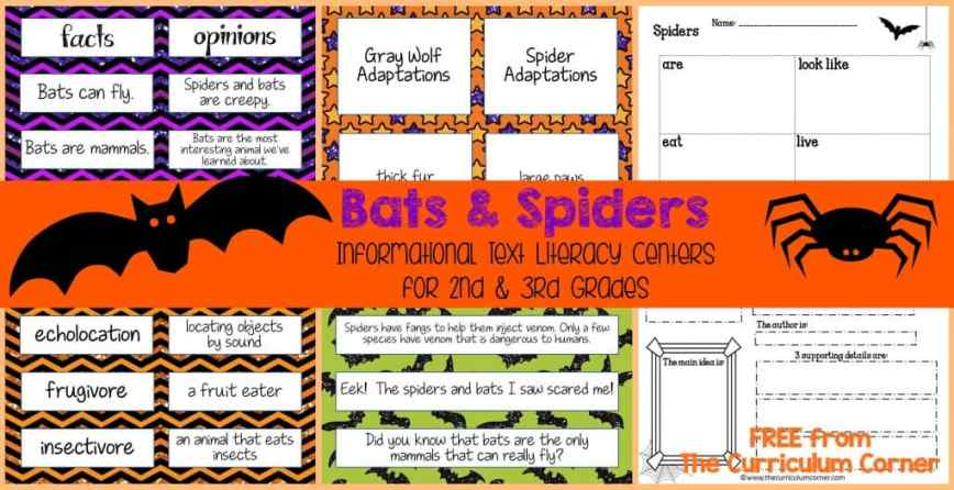 Bats & Spiders Informational Text LIteracy Centers FREE from The Curriculum Corner