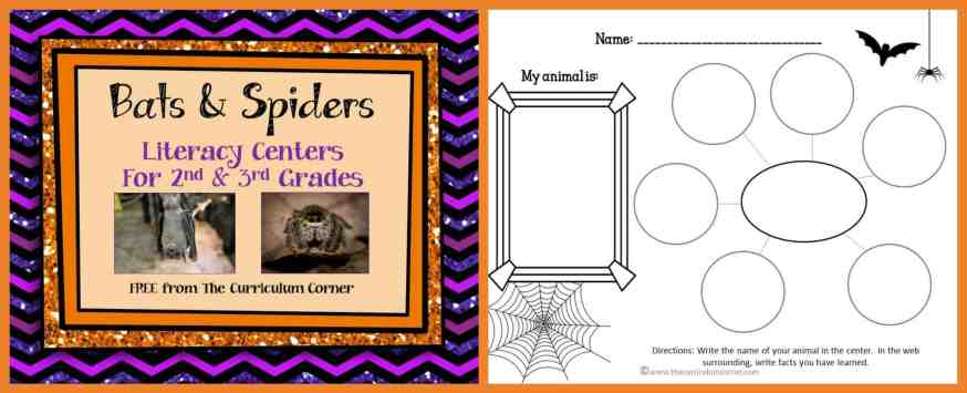 Bats & Spiders Informational Text LIteracy Centers FREE from The Curriculum Corner FREEBIE!!!