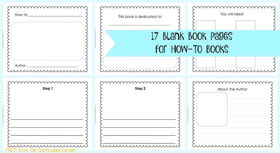 FREE 17 Blank Book Pages   How-To Writing Unit of Study for 1st, 2nd and 3rd Grades from The Curriculum Corner