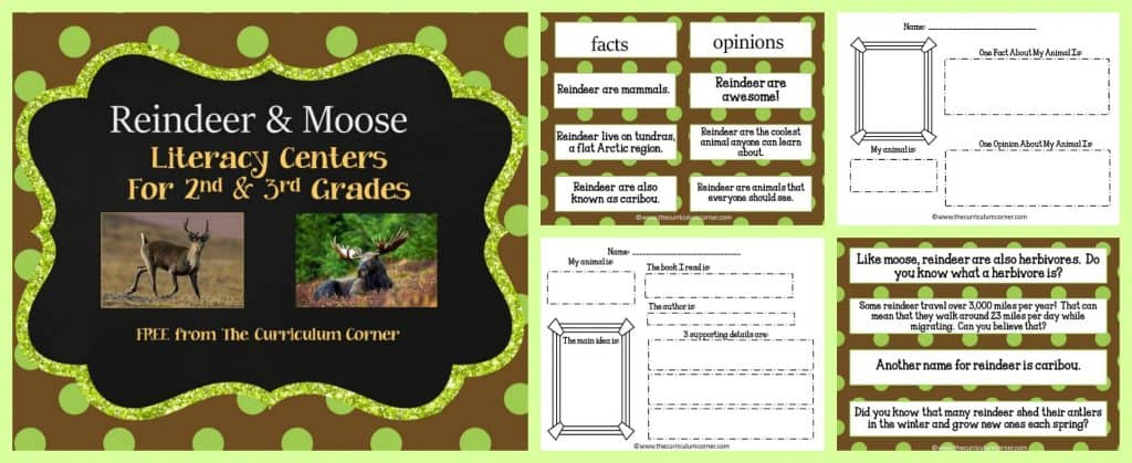 FREE Reindeer & Moose Literacy Centers for Informational Text from The Curriculum Corner | 2nd grade, 3rd grade | FREE nonfiction centers