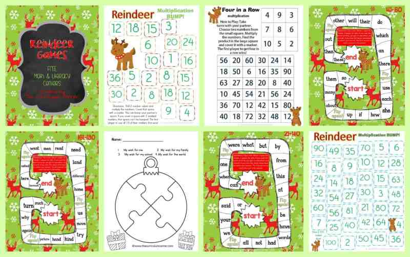 FREEBIE! Reindeer Games Centers for Math Facts & Fry Words from The Curriculum Corner | Fry Word Practice | Bump!