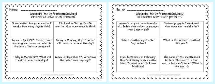 FREE Calendar Math Activities from The Curriculum Corner | calendar math journal | problem solving | anchor charts & more FREEBIE printables