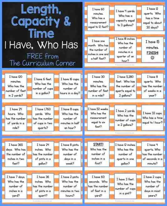 FREEBIE Math Activity 3rd grade Length, TIme & Capacity Game - I Have, Who Has Activity FREEBIE from The Curriculum Corner