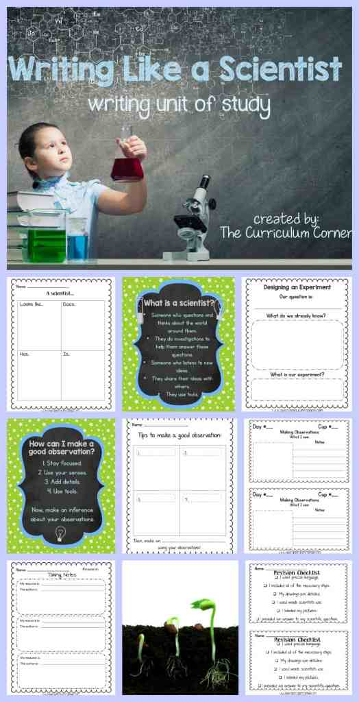 FREEBIE Writing Like a Scientist Unit of Study for Writing Workshop from The Curriculum Corner | writing workshop | units of study
