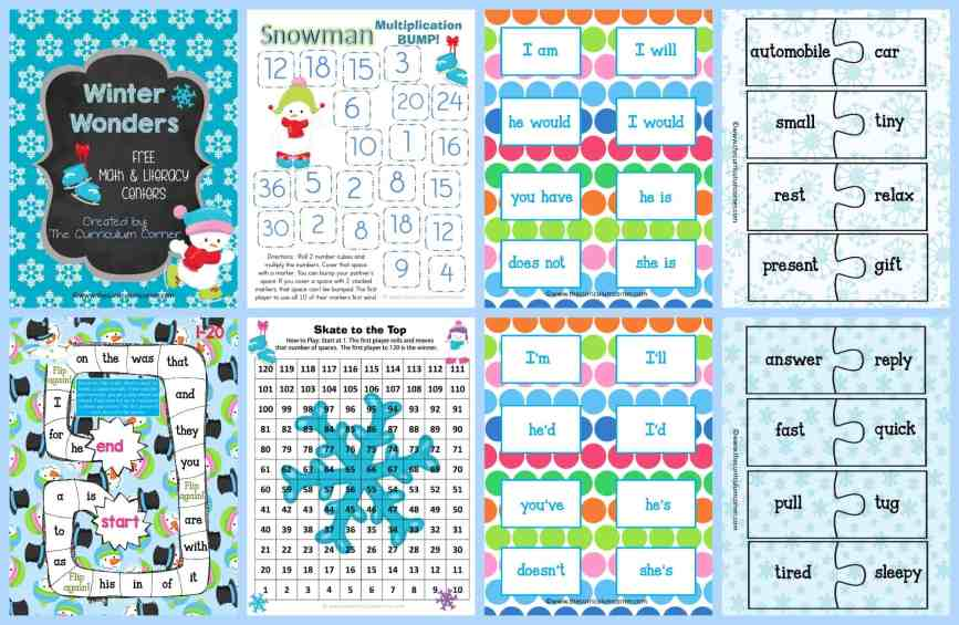 FREE Winter Centers for Math & Literacy from The Curriculum Corner math fact practice | Fry word games