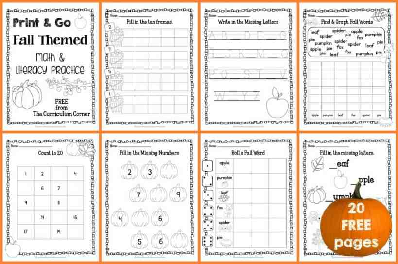 FREE Fall Print & Go Math and LIteracy Pages from The Curriculum Corner