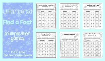 FREE Winter Themed Find a Fact Multiplication Games from The Curriculum Corner | Math Freebies