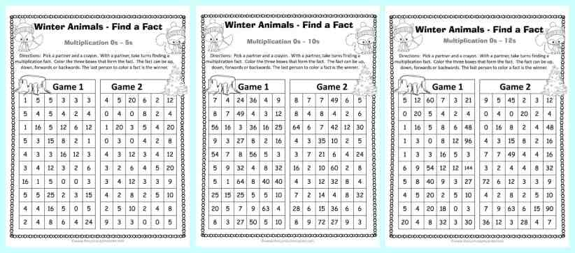 FREEBIE Winter Themed Find a Fact Multiplication Games from The Curriculum Corner