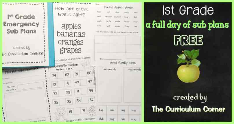 FREE 1st Grade Sub Plans for Emergencies from The Curriculum Corner