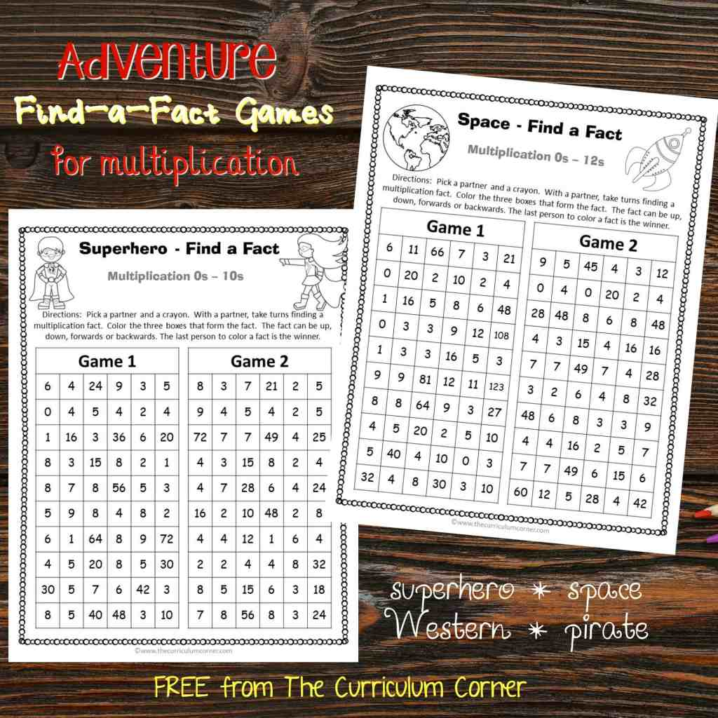 FREEBIE Adventure Find a Fact Multiplication Games from The Curriculum Corner