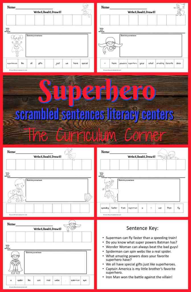 FREE Superhero Literacy Center | Write it, Read it, Draw it scrambled sentences from The Curriculum Corner | FREEBIE
