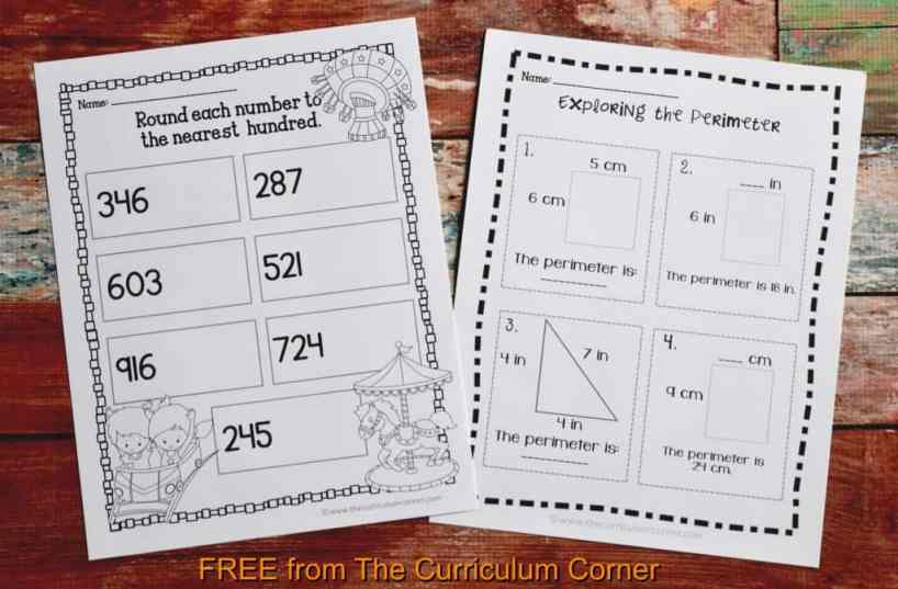 FREE 3rd Grade Sub Plans - perfect for an emergency absence from The Curriculum Corner includes a variety of math activities!