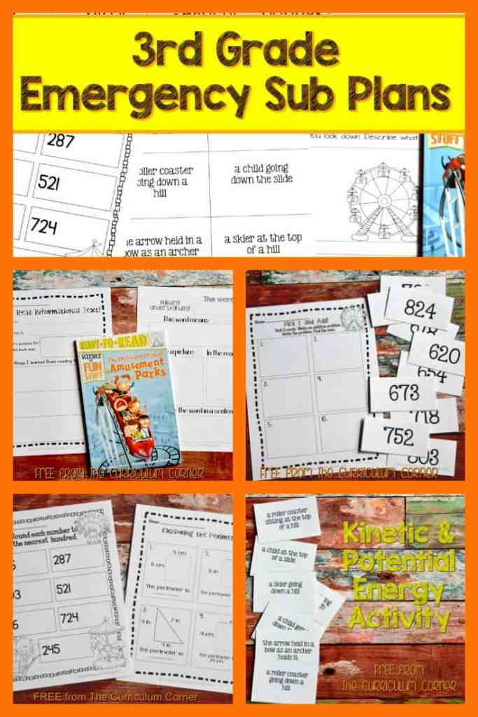 FREE 3rd Grade Sub Plans - perfect for an emergency absence from The Curriculum Corner more than a full day of plans!