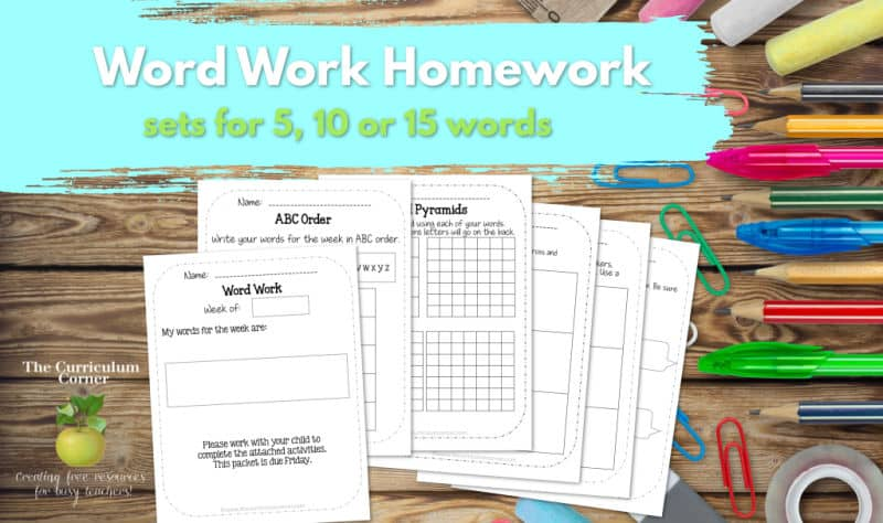 Word Work Homework for Any Words - The Curriculum Corner 123