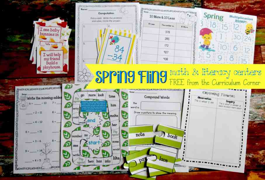 FREE Spring Centers for Math & Literacy from The Curriculum Corner | computation, Fry words, compound words & more!