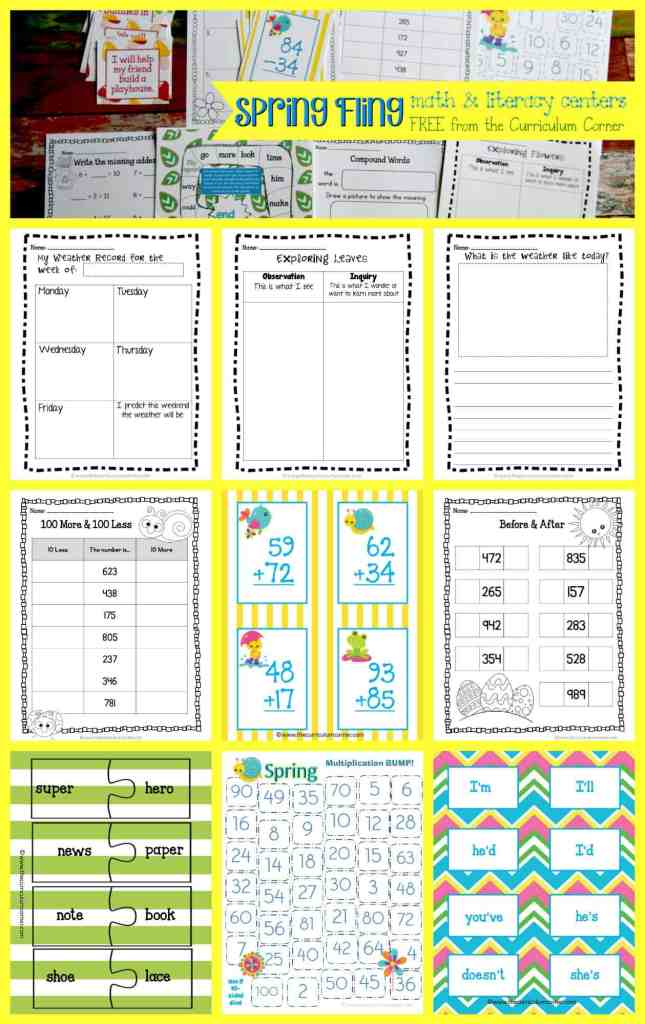 FREE Spring Fling Math & Literacy Centers from The Curriculum Corner
