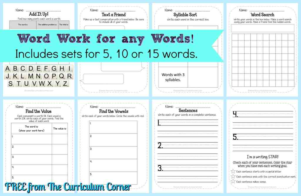 FREEBIE Word Work Collection from The Curriculum Corner