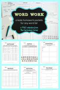 FREE Word Work for any Word List from The Curriculum Corner