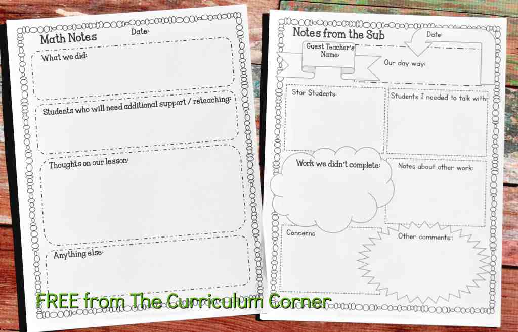 FREE Sub Binder from The Curriculum Corner 3