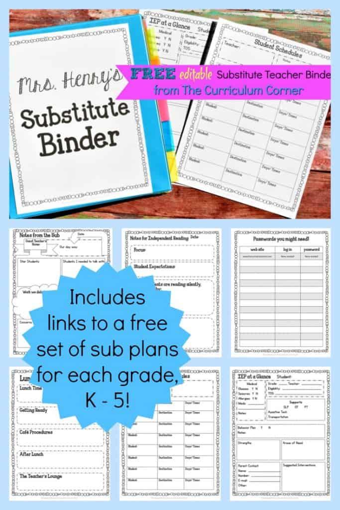 editable substitute planning binder the curriculum corner 123. Black Bedroom Furniture Sets. Home Design Ideas