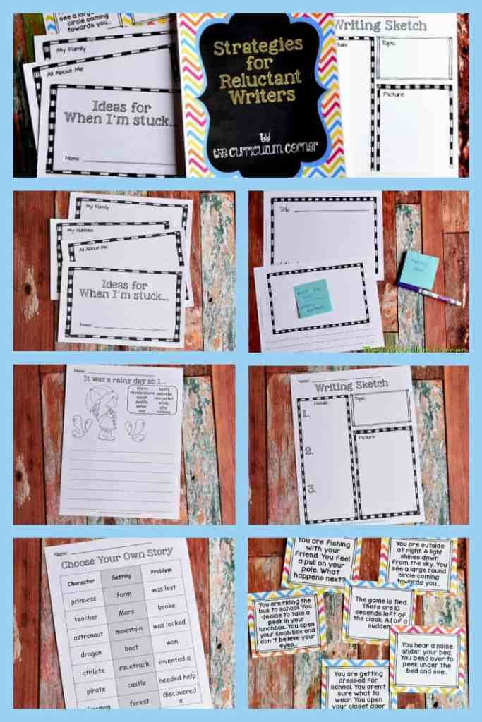 Strategies for Reluctant Writers with FREE Printables from The Curriculum Corner 7