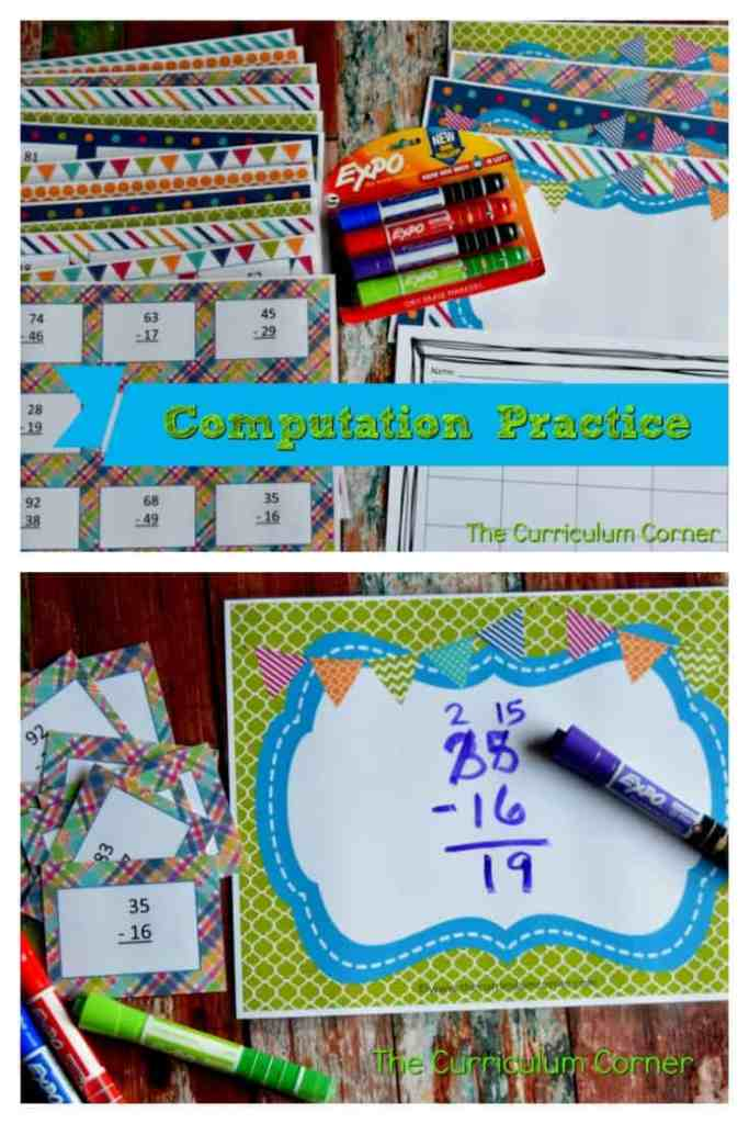 Subtraction & Addition Centers for Math Practice FREE from The Curriculum Corner