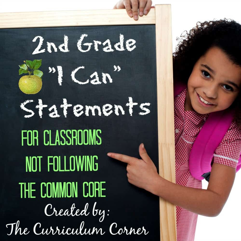 FREE 2nd Grade Kid Friendly Standards from The Curriculum Corner | NOT Common Core Many Resources Available