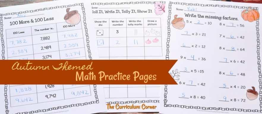 FREE fall math & fall literacy center activities from The Curriculum Corner 2