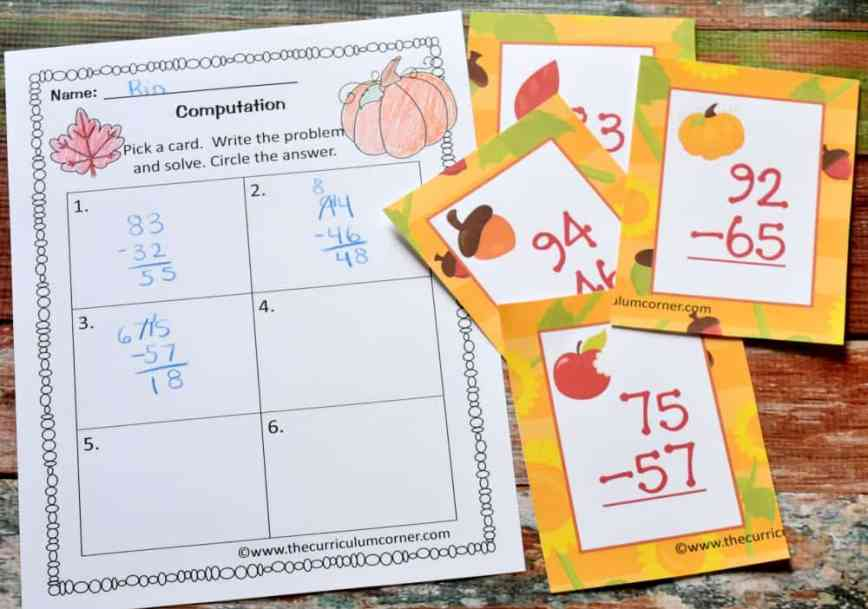 FREE fall math & fall literacy center activities from The Curriculum Corner 5