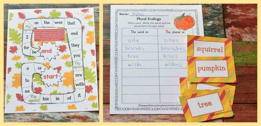 FREE fall math & fall literacy center activities from The Curriculum Corner 6