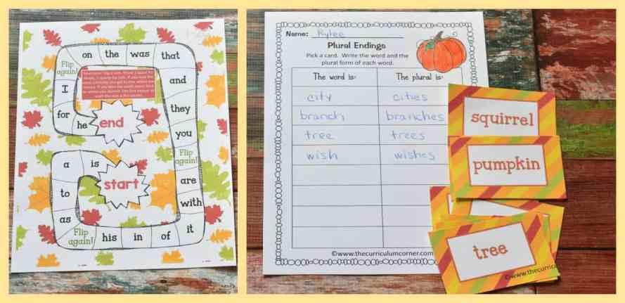 FREE fall math & fall literacy center activities from The Curriculum Corner 6