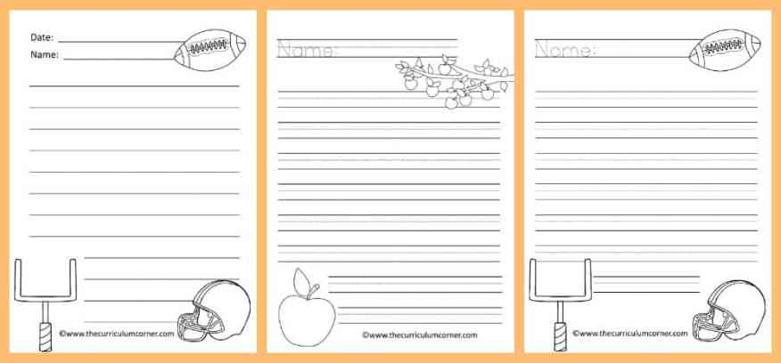 FREE Fall Lined Papers for Writing Workshop from The Curriculum Corner 3