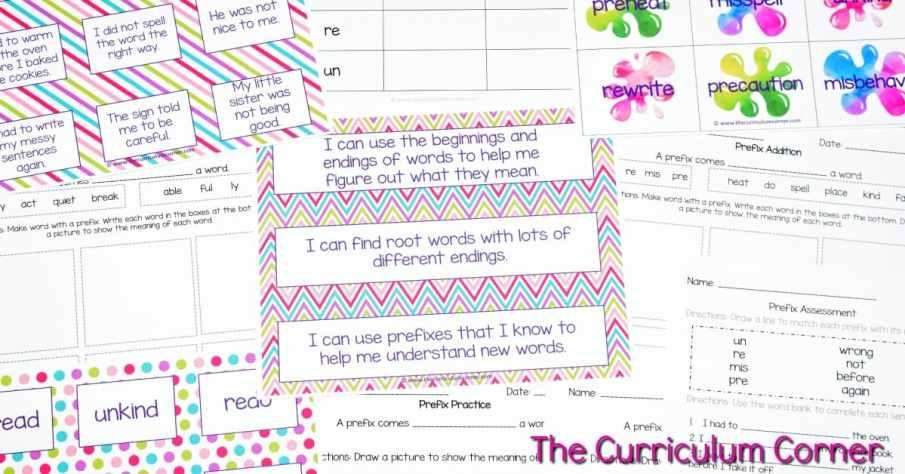 FREE Root Words, Prefix Practice, Suffix Practice Instructional & Practice Materials from The Curriculum Corner 4