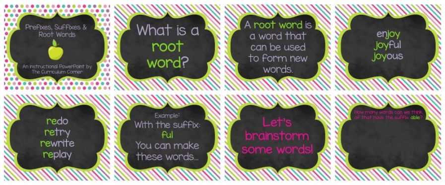 FREE Root Words, Prefix Practice, Suffix Practice Instructional & Practice Materials from The Curriculum Corner