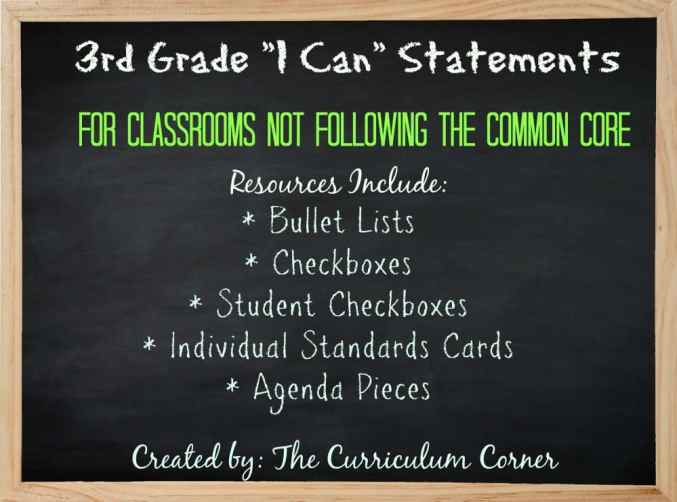 FREE 3rd Grade Kid Friendly Standards from The Curriculum Corner | NOT Common Core Many Resources Available 3