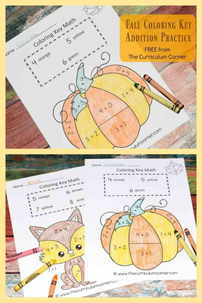 Fall Color by Number   Fall Color Key   Math Practice   Addition Facts   FREE from The Curriculum Corner 3