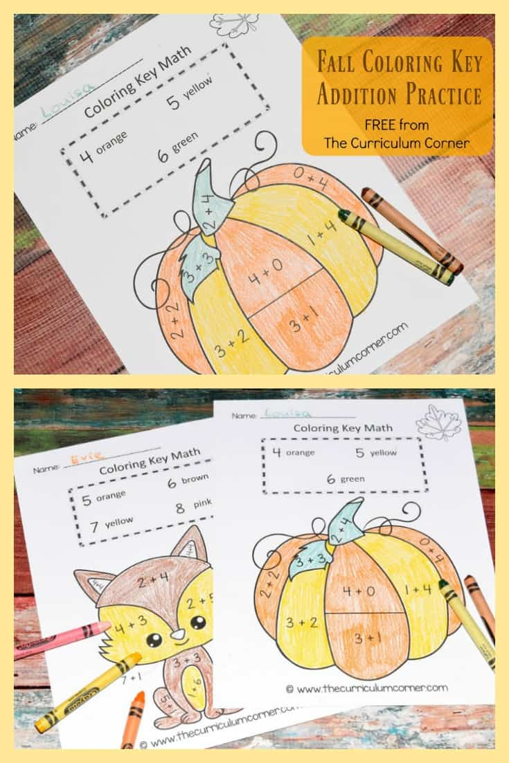 Fall Color by Number | Fall Color Key | Math Practice | Addition Facts | FREE from The Curriculum Corner 3