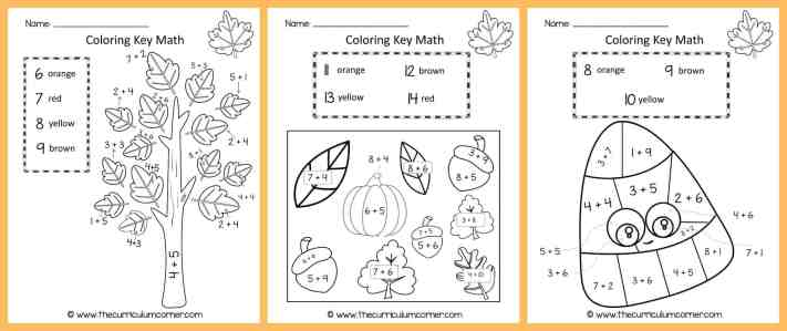 Fall Color by Number | Fall Color Key | Math Practice | Addition Facts | FREE from The Curriculum Corner 4