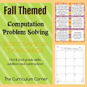 Fall Themed Problem Solving Task Cards from The Curriculum Corner | Scoot Game